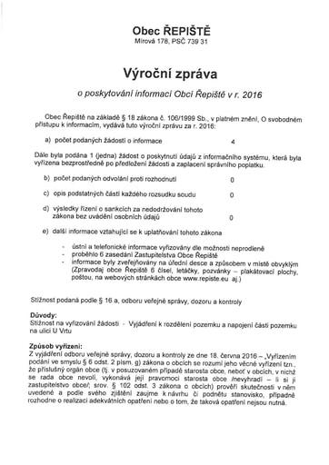 Výroční zpráva o poskytování informací Obcí Řepiště v roce 2016